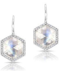 Anne Sisteron - 14kt White Gold Diamond Moonstone Hexagon Earrings - Lyst