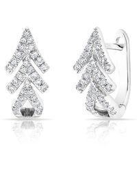 Anne Sisteron - 14kt White Gold Diamond Pine Huggie Earrings - Lyst