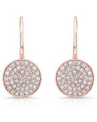Anne Sisteron - 14kt Rose Gold Diamond Disc Earrings - Lyst