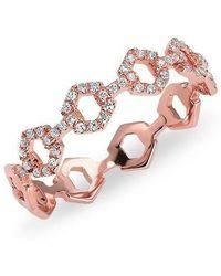 Anne Sisteron - 14kt Rose Gold Diamond Lock Ring - Lyst
