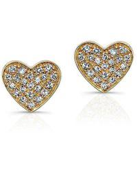 Anne Sisteron - 14kt White Gold Diamond Heart Stud Earrings - Lyst