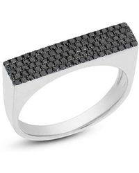 Anne Sisteron - 14kt White Gold Black Diamond Brick Ring - Lyst