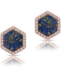Anne Sisteron | 14kt Rose Gold Lapis Diamond Hexagon Stud Earrings | Lyst