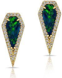 Anne Sisteron - 14kt Yellow Gold Opal Diamond Shield Earrings - Lyst