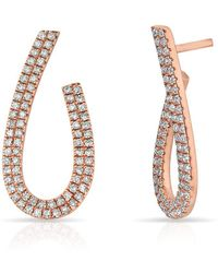 Anne Sisteron - 14kt Rose Gold Diamond Curve Earrings - Lyst