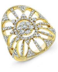 Anne Sisteron - 18kt Yellow Gold Diamond Shield Ring - Lyst