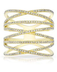 Anne Sisteron - 14kt Yellow Gold Diamond Multiband Riverly Ring - Lyst