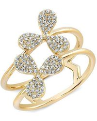Anne Sisteron - 14kt Yellow Gold Diamond Petal Knuckle Ring - Lyst
