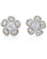 Anne Sisteron - 14kt White Gold Diamond Slice Mae Flower Earrings - Lyst