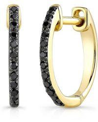 Anne Sisteron - 14kt Oxidized Yellow Gold Black Diamond Zoe Huggie Earrings - Lyst