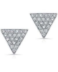 Anne Sisteron - 14kt White Gold Diamond Medium Triangle Emma Stud Earrings - Lyst