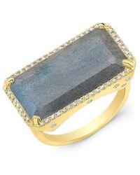 Anne Sisteron - 14kt Yellow Gold Diamond Base Labradorite Ring - Lyst