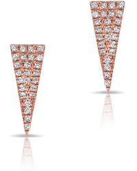 Anne Sisteron - 14kt Rose Gold Diamond Mini Long Triangle Stud Earrings - Lyst