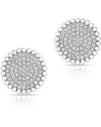 Anne Sisteron - 14kt White Gold Diamond Large Scalloped Disc Stud Earrings - Lyst