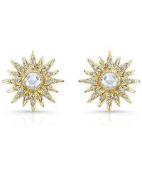 Anne Sisteron - 14kt Yellow Gold Diamond Vintage Style Starburst Stud Earrings - Lyst
