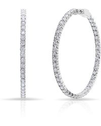 Anne Sisteron - 14kt White Gold Diamond Large Bella Hoop Earrings - Lyst