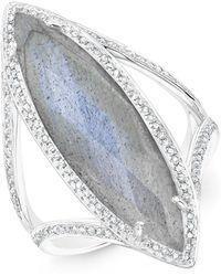 Anne Sisteron - 14kt White Gold Diamond Labradorite Alexis Ring - Lyst