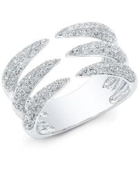 Anne Sisteron - 14kt White Gold Diamond Triple Horn Ring - Lyst