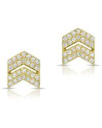 Anne Sisteron - 14kt Yellow Gold Diamond Double Maverick Chevron Diamond Stud Earrings - Lyst
