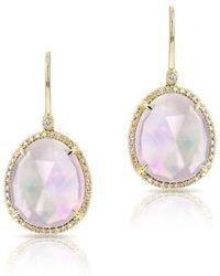 Anne Sisteron - 14kt Yellow Gold Shimmer Pink Amethyst Diamond Earrings - Lyst