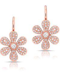 Anne Sisteron - 14kt Rose Gold Diamond Daisy Flower Wireback Earrings - Lyst