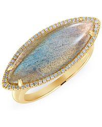 Anne Sisteron - 14kt Yellow Gold Labradorite Diamond Marquis Ring - Lyst