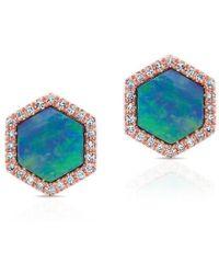 Anne Sisteron - 14kt Rose Gold Opal Diamond Hexagon Stud Earrings - Lyst