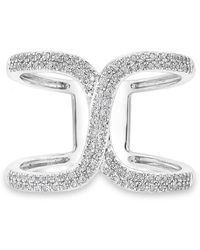 Anne Sisteron - 14kt White Gold Diamond Double Horseshoe Ring - Lyst
