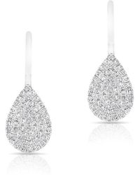 Anne Sisteron - 14kt White Gold Diamond Mini Pear Wireback Earrings - Lyst