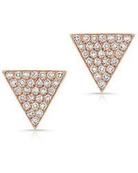 Anne Sisteron - 14kt Rose Gold Diamond Large Triangle Emma Stud Earrings - Lyst