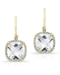Anne Sisteron - 14kt Yellow Gold White Topaz Diamond Cushion Cut Earrings - Lyst