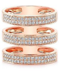 Anne Sisteron - 14kt Rose Gold Diamond Large Triple Bar Ring - Lyst