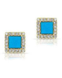 Anne Sisteron - 14kt Yellow Gold Turquoise Diamond Square Stud Earrings - Lyst