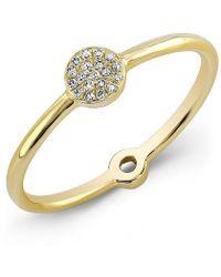 Anne Sisteron - 14kt Yellow Gold Diamond Mini Disc Ring - Lyst