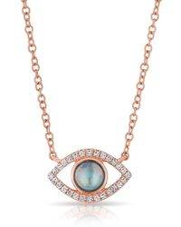 Anne Sisteron - 14kt Rose Gold Diamond Open Moonstone Evil Eye Sukie Necklace - Lyst