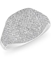 Anne Sisteron - 14kt White Gold Diamond Cushion Pinkie Ring - Lyst