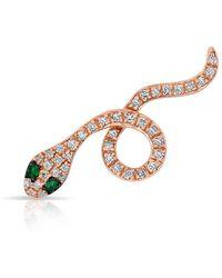 Anne Sisteron - 14kt Rose Gold Emerald Diamond Snake Ear Climber - Lyst
