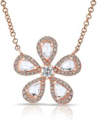 Anne Sisteron - 14kt Rose Gold Rose Cut Diamond Flower Necklace - Lyst