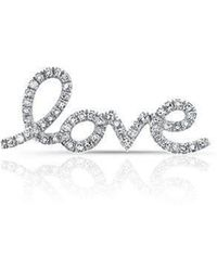 Anne Sisteron - 14kt White Gold Diamond Love Ear Climber - Lyst