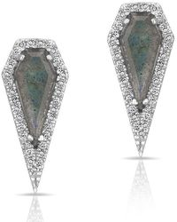 Anne Sisteron - 14kt White Gold Labradorite Diamond Shield Earrings - Lyst
