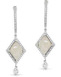 Anne Sisteron - 14kt White Gold Diamond Slice Elise Earrings - Lyst