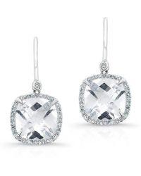 Anne Sisteron - 14kt White Gold White Topaz Diamond Cushion Cut Earrings - Lyst