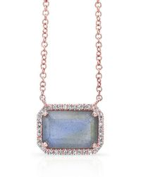 Anne Sisteron - 14kt Rose Gold Rectangle Labradorite Diamond Necklace - Lyst
