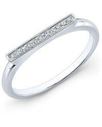 Anne Sisteron - 14kt White Gold Diamond Long Bar Ring - Lyst