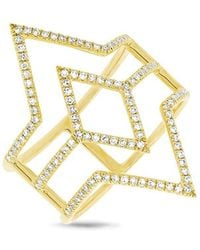 Anne Sisteron - 14kt Yellow Gold Diamond Open Double Spear Ring - Lyst