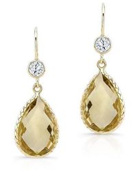 Anne Sisteron - 14kt Yellow Gold Scalloped Lemon Topaz Pear Earrings - Lyst