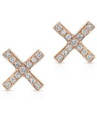 Anne Sisteron - 14kt Rose Gold Diamond X Stud Earrings - Lyst