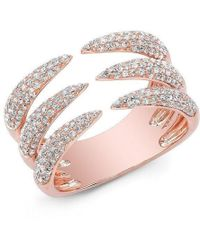 Anne Sisteron - 14kt Rose Gold Diamond Triple Horn Ring - Lyst