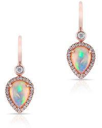 Anne Sisteron - 14kt Rose Gold Opal Diamond Pear Drop Earrings - Lyst