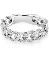 Anne Sisteron - 14kt White Gold Diamond Chain Link Light Ring - Lyst